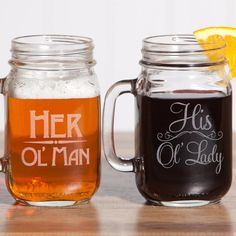 Old Man Old Lady Gift Set of 2 Masons Jar Mugs. Couples Gift for Anniversaries. Your glasses are dishwasher safe and require no maintenance to preserve the lase