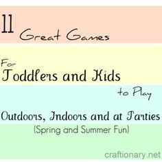 11 Fun games for toddlers and kids #activities #kids