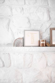 How To Whitewash A Stone Fireplace – Coffee With Summer – Stone fireplace living room Whitewash Stone Fireplace, White Stone Fireplaces, Stone Fireplace Makeover, Simple Fireplace, Paint Fireplace, Rock Fireplaces, Home Fireplace, Living Room With Fireplace, Fireplace Ideas