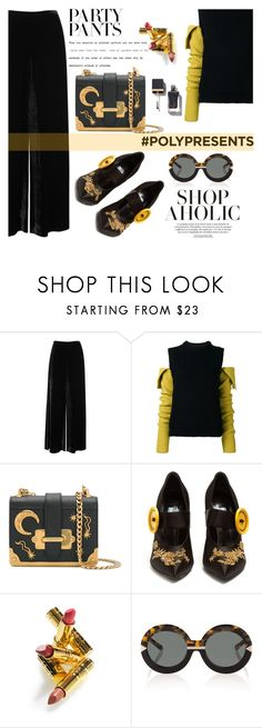 """""""#PolyPresents: Fancy Pants"""" by nataskaz ❤ liked on Polyvore featuring M Missoni, Calvin Klein 205W39NYC, Prada, Elizabeth Arden, Karen Walker, contestentry and polyPresents"""