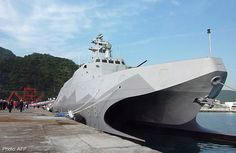 "New stealth corvette joins Taiwan Navy. Speaking during handover at harbour at northeastern Yilan County,Defence Minister Yen praised new 500ton Tuo Chiang twin-hull corvette as ""fastest & most powerful warship in Asia."" Twin-hull corvette maximum speed of 38knots (70kph),range 2,000 nautical miles (3,704km).60.4m length & 14m wide,crew 41.Has 8 locally developed Hsiung Feng II & 8 Hsiung Feng III anti-ship missiles.1st of possibly 8 to 12 to be built locally under Hsun Hai programme."