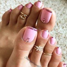 New Pink French Pedicure Toenails Manicures Ideas Pink Toe Nails, Pretty Toe Nails, Cute Toe Nails, Summer Toe Nails, Pink Toes, Feet Nails, Pretty Toes, Toe Nail Art, Toenails