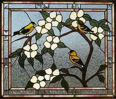 Stained Glass Dogwood & Finch