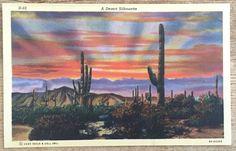 Vintage Linen postcard Arizona Cactus Desert Sunset Landscape Curt Teich 1939
