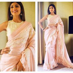 Ruffle Saree Style is the Hottest Trend of this Season 2018 Indian Dresses, Indian Outfits, Shilpa Shetty Saree, Saree Gown, Saree Blouse, Reception Sarees, Modern Saree, Stylish Blouse Design, Party Sarees