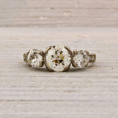 Transitional Cut .90 Carat Diamond Engagement Ring. $6,800.00, via Etsy.