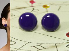 Purple Stud Earrings 20mm  Purple Post Earrings  Simple by biesge, $14.90