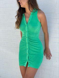 #buttonupdress #greendresses #minidresses #shimmerdress New Arrival Dress, Button Up Dress, I Feel Pretty, Green Dress, Collars, Rompers, Mini, Swimwear, Fabric