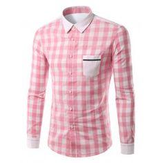 889acdd49893f6 Plaid Pattern Pocket Splicing Turn-Down Collar Long Sleeve Shirt For Men