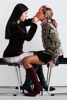 """Propitia Sydera"" - Johannes Müller-Franken (German, b. 1960), oil on canvas, 2005 {figurative realism art two females seated young women applying makeup painting #loveart} mueller-franken.de"