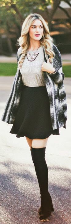 Black skirt with cream blouse and black and cream cardigan