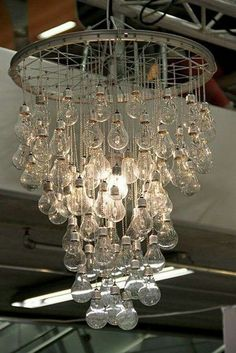 Light Bulb/Bike Wheel Chandelier