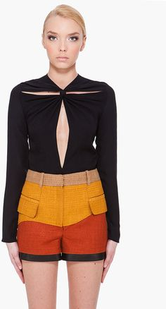 Proenza Schouler Black Front Tie Blouse in Black