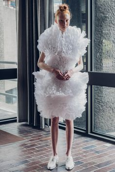 Sculptural Fashion - white dress with organic white textures; wearable art // Roberts-Wood Spring 2016