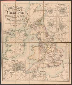 Bradshaw's new railway map of Gt. Britain and Ireland shewing the stations-distance: with enlarged plans of the principal towns; Rar K 373