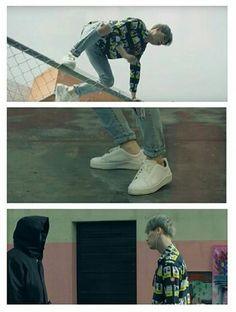 Even the way SUGA jumped that fence is so hot ☺️ Bts Suga, Bts Bangtan Boy, Fire Bts, Rap Monster, Bts Wallpaper, Dramas, Fence, Korean, Kpop