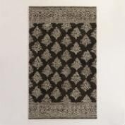 Black and Ivory Tufted Wool Rossi Area Rug