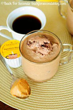 Frozen Peanut Butter Mocha's - This beats a frappuccino!! http://backforsecondsblog.com  #frappuccino #peanutbutter #mocha