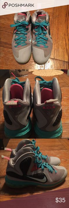 LeBron 9 South Beach LeBron 9 South Beach 100% authentic Size: 7y Condition 7/10 Shoe has some creasing and yellowing also has a few small holes Nike Shoes Sneakers
