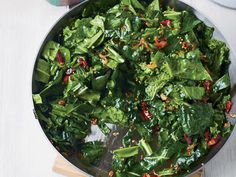 Sautéed Spring Greens with Bacon and Mustard Seeds. You can use any greens you like in this quick sauté, which gets terrific flavor and texture from smoky bacon, hot chile, and the pop of mustard seeds. Wine Recipes, Cooking Recipes, Healthy Recipes, Cooking Games, Keto Recipes, Paleo Meals, Simple Recipes, Healthy Salads, Cooking Classes