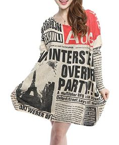 ELLAZHU Women Baggy Newspaper Print Knit Pullover Sweater Onesize SZ90 * You can get more details by clicking on the image.Note:It is affiliate link to Amazon.