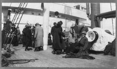 Groups of Titanic survivors aboard rescue ship Carpathia: unidentified group on deck. (Library of Congress Prints and Photographs Division Washington, D.C.) #