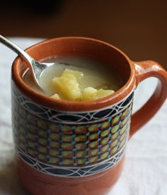 Pineapple atole, with cubes of fresh pineapple