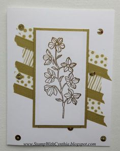 Gold and Gorgeous Peaceful Petals - White by Cynthia<>< - Cards and Paper Crafts at Splitcoaststampers  washi tape