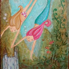 Mermaid Wall Art - Children Decor- 8 x 10 Print. $18.00, via Etsy.