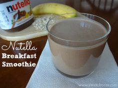 So good! Nutella Breakfast Smoothie ~ A Time to Freeze #oats #nutella #breakfastsmoothie