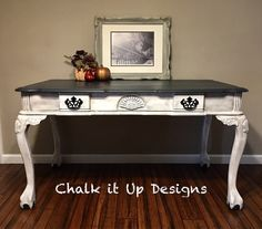 Desk painted with Annie Sloan Graphite and Pure White sealed with Clear and Black Wax