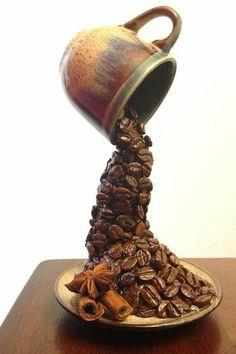 .Amazing coffee sculpture!