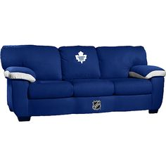 Ok, I thought the Leafs chair I pinned earlier was sweet enough. Of course, this couch will run you about 950 bucks. Furnishing your home with your team of choice does not come cheap! Hockey Man Cave, Toronto Blue Jays, Toronto Maple Leafs, Montreal Canadiens, Nfl Football, Nhl, Hockey Stuff, Blue And White, Leaves