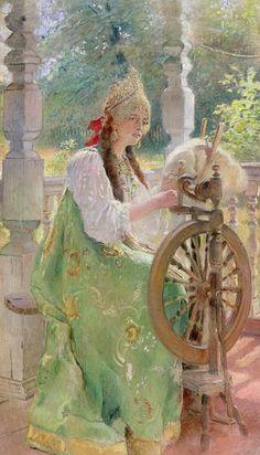 At the Spinning-Wheel - Konstantin Egorovich Makovsky as art print or ...