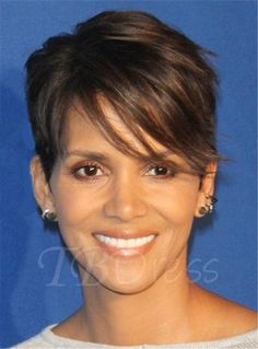 Halle Berry Pixie Boy Cuts Short Layered Synthetic Hair With One Side Part Straight Bangs Capless Cap Wigs 6 Inches Halle Berry Pixie, Halle Berry Haircut, Halle Berry Hairstyles, Pixie Hairstyles, Straight Hairstyles, Hairstyle Short, Hairdos, Halle Berry Short Hair, Halle Berry Style