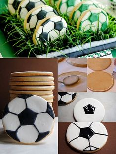 Dekoideen zur Fußball EM 2016 Party food ideas and recipes for the football parties and football em Soccer Cookies, Soccer Cake, Soccer Theme, Football Birthday Cake, Soccer Birthday Parties, Soccer Party, Birthday Cake Decorating, Cookie Decorating, Football Snacks