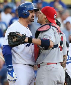 "Cardinals v Dodgers NLDS Game 1 Love it when the Cards get fired up. Gonzalez claimed he had ""friendly words"" with Yadi. Yeah right."