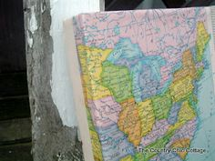DIY Wrapped Map Canvas ~ * THE COUNTRY CHIC COTTAGE (DIY, Home Decor, Crafts, Farmhouse)