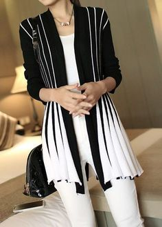 Black And White Open Front Cardigan Long Sleeve Vertical Striped Black Cardigan Red Cardigan, Striped Cardigan, Cardigan Fashion, Striped Knit, Cardigans For Women, Asymmetrical Sweater, Hijab Style, Trendy Tops For Women, Plus Sized Outfits
