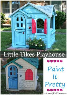 Make the neighbors jealous and the kids happy. Paint a Little Tikes Playhouse. Step by step tutorial including photos. Things I learned while painting the house.