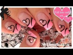 Easy+Valentine's+Day+Nail+Art+|+Cute+Heart+French+Tip+Nails+♥