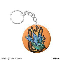 Fire Bird Basic Round Button Keychain