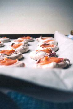 beet-hued meringues with blood orange curd via Vegetarian Ventures