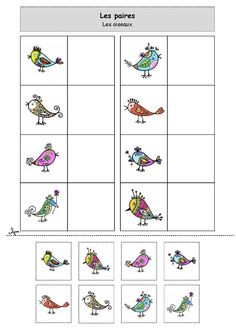 Les paires : les oiseaux Fall Preschool Activities, Preschool Math, Sequencing Cards, Bird Theme, Worksheets For Kids, Creative Thinking, School Fun, Colorful Pictures, Montessori
