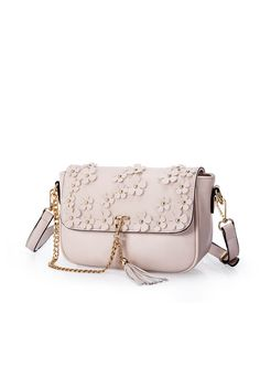 57a1b0c99f Leather shoulder bag with animated flower Embroider
