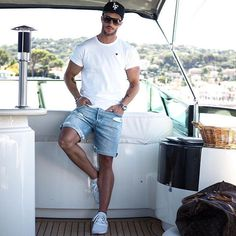 Summer Outfits Men, Short Outfits, Casual Outfits, Male Clothes, Stylish Men, Men Casual, Latest Summer Fashion, Moda Blog, Herren Outfit