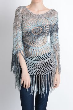 Tie Dye Crochet Fringe Top / Cover-up | Isshoes Boutique