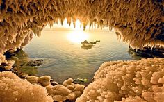 The Dead Sea seen from a cave on its Jordanian shore