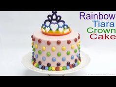TIARA CROWN CAKE: How to make a edible rainbow tiara crown cake by Busi Christian-Iwuagwu - YouTube