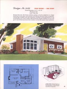 Classic house plans from 1955 – suburban home designs at Click Americana Classic house plans from 1955 – House Plans Online, Sims House Plans, House Floor Plans, Small House Plans, Home Design, Modern House Design, Modern Floor Plans, Midcentury Modern House Plans, Mcm House